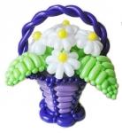 Корзина с цветами из воздушных шаров №4