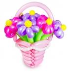 Корзина с цветами из воздушных шаров №5