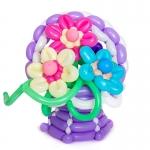 Корзина с цветами из воздушных шаров №6