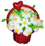 Корзина с цветами из воздушных шаров №8