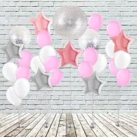Оформление помещения воздушными шарами розовое