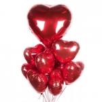 Набор фольгированных сердец с большим сердцем