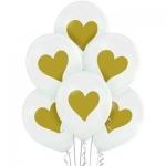 """Воздушные шары """"Сердечки золотые большие"""""""