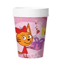 Стаканы (250 мл) Три Кота, С Днем Рождения!, Розовый, 6 шт.