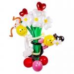 """Букет из воздушных шаров """"Жених и Невеста смайлики"""""""