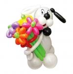 """Фигура из воздушных шаров """"Собачка с букетом"""""""
