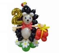 """Фигура из воздушных шаров """"Ёжик с цифрой"""""""