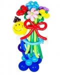"""Фигура из воздушных шаров """"Мальчик смайлик с букетом"""""""