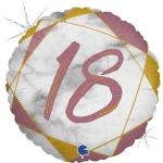 Фольгированный круг цифра 18 розовое золото