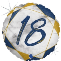 Фольгированный круг цифра 18 синий