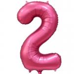 Фольгированная цифра 2 бордовый сатин