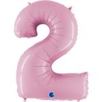 Фольгированная цифра 2 светло розовый