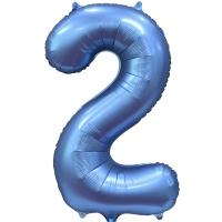 Фольгированная цифра 2 синий сатин