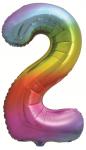 Фольгированная цифра 2 яркая радуга