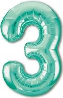 Фольгированная цифра 3 бискайский зеленый