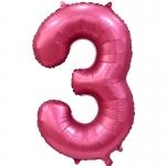 Фольгированная цифра 3 бордовый сатин