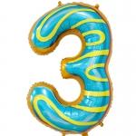 Фольгированная цифра 3 пончик
