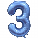 Фольгированная цифра 3 синий сатин