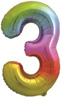 Фольгированная цифра 3 яркая радуга
