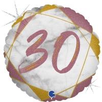 Фольгированная цифра 30 розовое золото