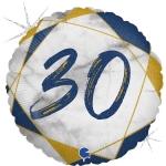 Фольгированный круг цифра 30 синий