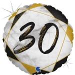 Фольгированная цифра 30 черный