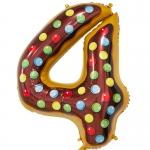 Фольгированная цифра 4 пончик