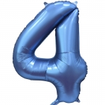 Фольгированная цифра 4 синий сатин