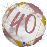Фольгированный круг цифра 40 розовое золото