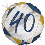 Фольгированный круг цифра 40 синий