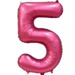 Фольгированная цифра 5 бордовый сатин