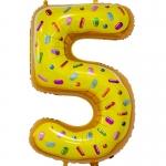 Фольгированная цифра 5 пончик