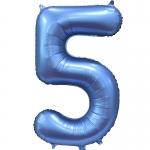 Фольгированная цифра 5 синий сатин