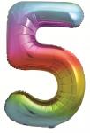 Фольгированная цифра 5 яркая радуга