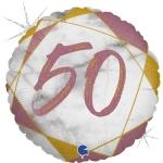Фольгированный круг цифра 50 розовое золото