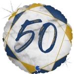 Фольгированный круг цифра 50 синий