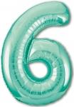 Фольгированная цифра 6 бискайский зеленый