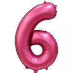Фольгированная цифра 6 бордовый сатин
