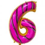 Фольгированная цифра 6 пончик
