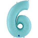 Фольгированная цифра 6 светло голубой