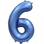 Фольгированная цифра 6 синий сатин