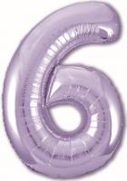 Фольгированная цифра 6 сиреневая