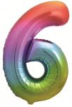Фольгированная цифра 6 яркая радуга