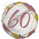 Фольгированный круг цифра 60 розовое золото