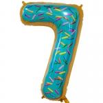 Фольгированная цифра 7 пончик