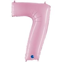 Фольгированная цифра 7 светло розовый