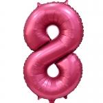 Фольгированная цифра 8 бордовый сатин