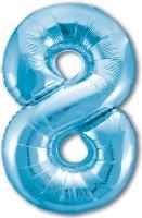 Фольгированная цифра 8 голубая