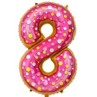Фольгированная цифра 8 пончик