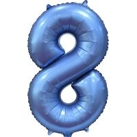 Фольгированная цифра 8 синий сатин